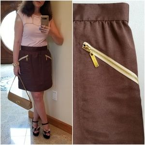 Dresses & Skirts - Mini Skirt with Gold-Tone Zippers